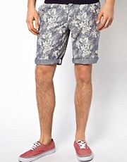 Minimum Chambray Shorts with Floral Print