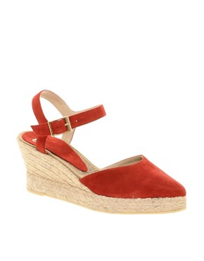 Image 1 ofASOS HIGHLIFE Suede Pointed Espadrille Wedges