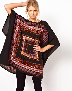 Image 1 ofASOS Tunic in Geo Placement Print