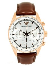 Emporio Armani Chronograph Leather Strap Watch AR5995