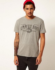Replay T-Shirt Blue Jeans Logo Print