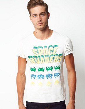 Image 1 ofJack &amp; Jones T-Shirt with Space Invaders Print