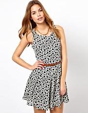 Glamorous Belted Skater Dress In Geo Maze Print