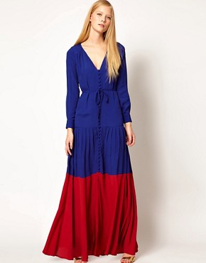 Image 1 ofASOS Maxi Dress In Colourblock with Long Sleeves