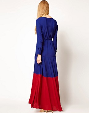 Image 2 ofASOS Maxi Dress In Colourblock with Long Sleeves