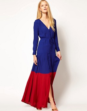 Image 4 ofASOS Maxi Dress In Colourblock with Long Sleeves