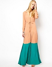 ASOS Maxi Dress In Colourblock with Long Sleeves