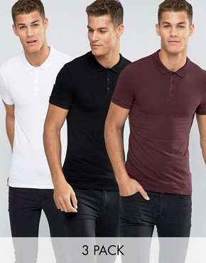 ASOS 3 Pack Extreme Muscle Polo Shirt SAVE 20%