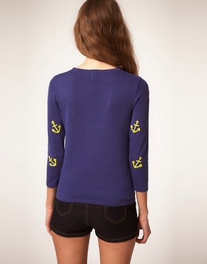 Image 2 of ASOS Jumper with Embroidered Anchors
