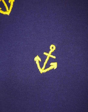 Image 3 of ASOS Jumper with Embroidered Anchors