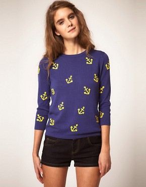 Image 1 of ASOS Jumper with Embroidered Anchors