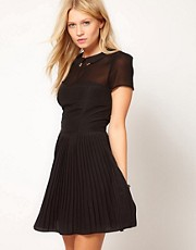 Oasis Fit &amp; Flare Dress With Metal Tipped Collar