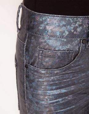 Image 3 ofASOS Skinny Jeans in Petrol Blue Metallic Holographic Print