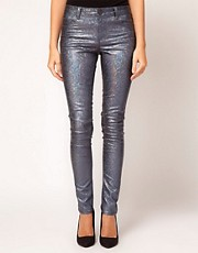 ASOS Skinny Jeans in Petrol Blue Metallic Holographic Print