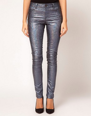 Image 1 ofASOS Skinny Jeans in Petrol Blue Metallic Holographic Print