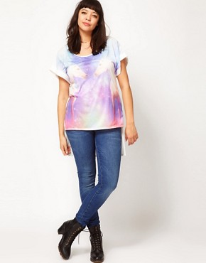Image 4 ofASOS CURVE Exclusive T-Shirt in Galaxy Unicorn Print