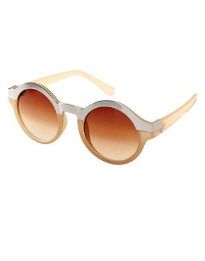 Image 1 ofASOS Metal Top Keyhole Round Sunglasses.