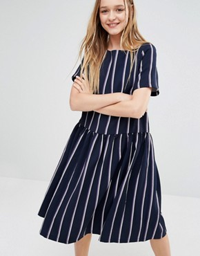 I Love Friday Oversized Smock Dress With Drop Waist In Stripe