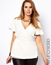 ASOS CURVE Exclusive Wrap Top With Fluted Sleeves