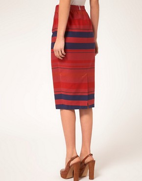 Image 2 ofASOS PETITE Stripe Midi Skirt