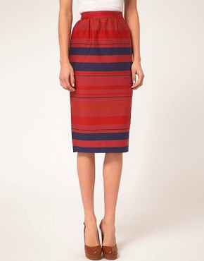 Image 4 ofASOS PETITE Stripe Midi Skirt