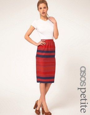 Image 1 ofASOS PETITE Stripe Midi Skirt