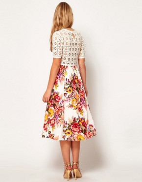Image 2 ofASOS Midi Dress With Crochet Top And Printed Skirt