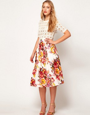 Image 4 ofASOS Midi Dress With Crochet Top And Printed Skirt