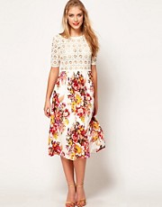 ASOS Midi Dress With Crochet Top And Printed Skirt