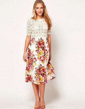 Image 1 ofASOS Midi Dress With Crochet Top And Printed Skirt