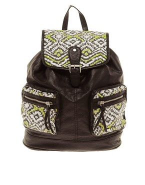 Image 1 ofNew Look Ikat Pocket Backpack