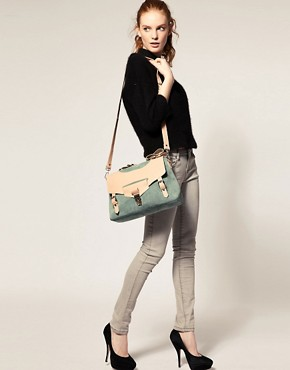 Image 3 ofASOS Leather And Suede Tucklock Satchel