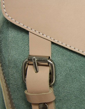 Image 4 ofASOS Leather And Suede Tucklock Satchel