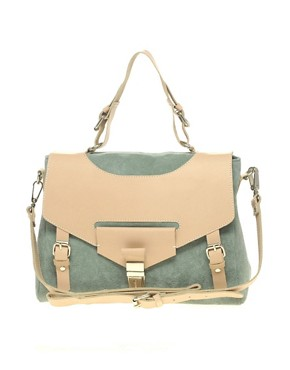 Image 1 ofASOS Leather And Suede Tucklock Satchel