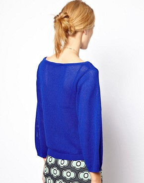Image 2 of Mademoiselle Tara Airtex Knit in Yves Klein Blue