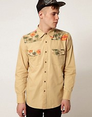 Afends Shirt Quasi Contrast Palm Print Western