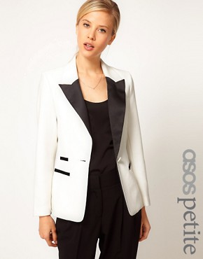 Image 1 ofASOS PETITE Exclusive Blazer With Contrast Lapel