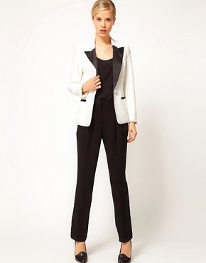 Image 4 ofASOS PETITE Exclusive Blazer With Contrast Lapel