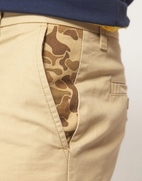 Image 3 ofASOS Chino Shorts With Camo Pockets