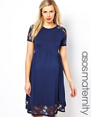 ASOS Maternity Exclusive Skater Dress With Lace Insert