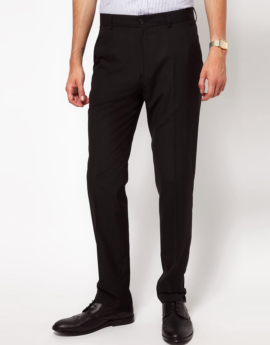 Image 1 of ASOS Straight Fit Black Smart Trousers