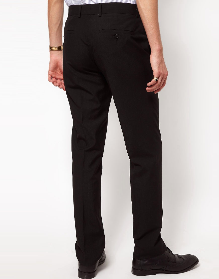 Image 2 of ASOS Straight Fit Black Smart Trousers