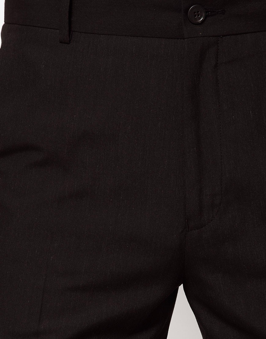 Image 3 of ASOS Straight Fit Black Smart Trousers