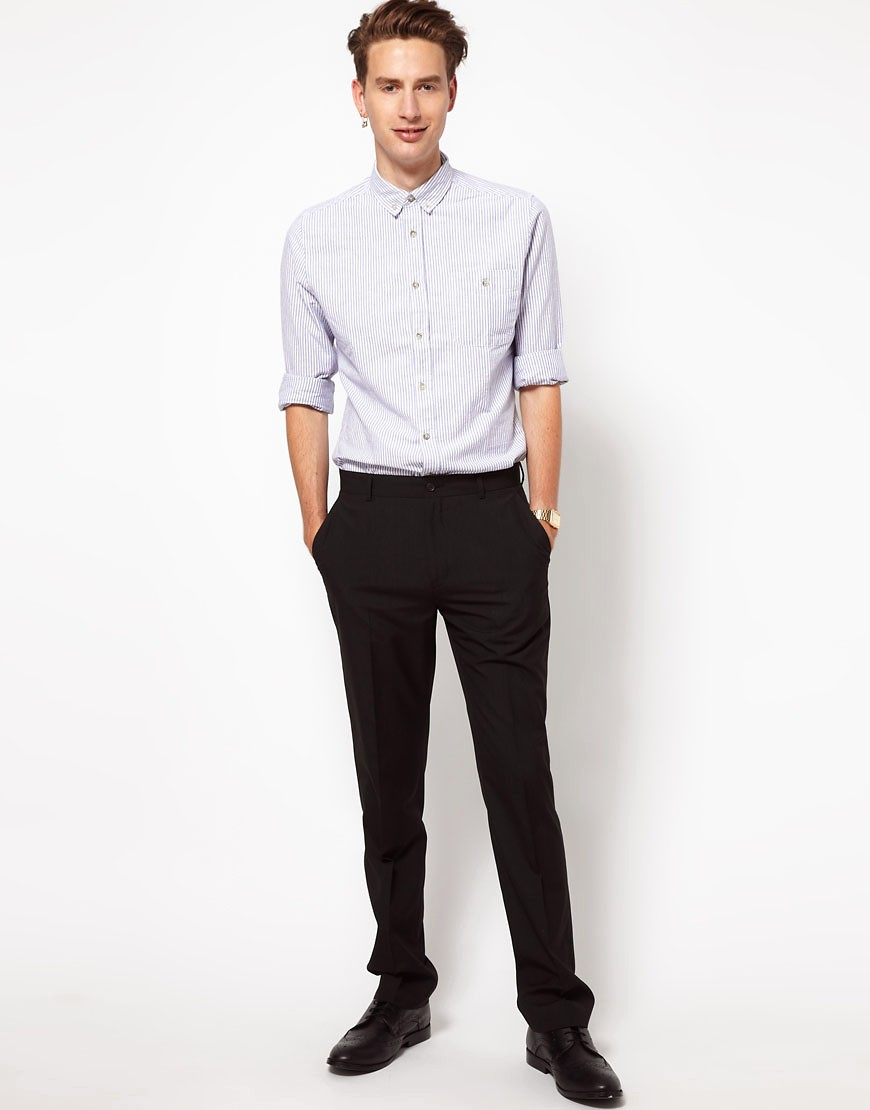 Image 4 of ASOS Straight Fit Black Smart Trousers