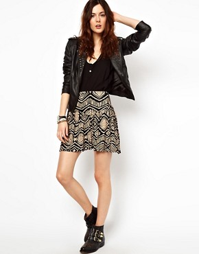 Image 1 ofRiver Island Skater Skirt In Aztec Print