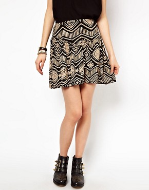 Image 4 ofRiver Island Skater Skirt In Aztec Print