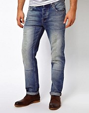 ASOS Straight Jeans With Vintage Rips