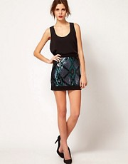 Warehouse Geo Sequin Skirt