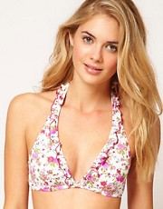 Top de bikini con aros invisibles y estampado floral exclusivo para ASOS de Pureda