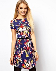 ASOS Skater Dress In Large Floral Print